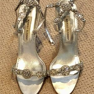 Silver Manolo Blahnik Swarovski Crystal Sandals